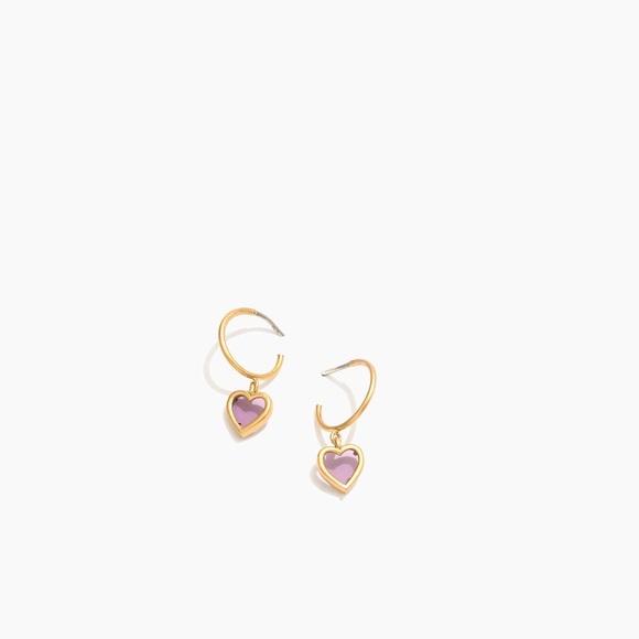 59158ea789dd9 Madewell Sweetheart Charm Mini Hoop Earrings NWT